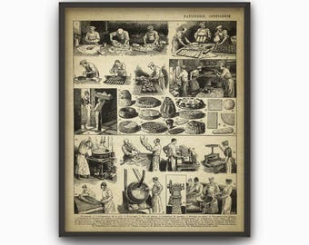 Bakery Art Print - Bakery Decor - Vintage Bread Making - Baking Oven - Breadmaking - Bakery Book Plate Illustration - Kitchen Decor