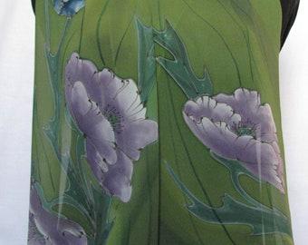 Papaver alpinum - silk scarf hand painted