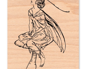 WOODLAND FAIRY -Wood Mounted Rubber Stamp (39-01)