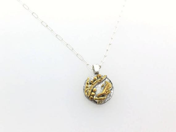 Organic Sterling Silver Necklace with Gold