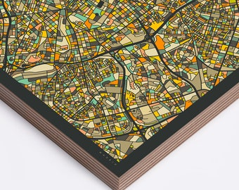 MADRID MAP Ready to Hang Wood Print (Wall Art for your Home Décor) dark version