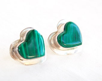 Malachite Heart Earrings Vintage Mexican Posts Studs Green Southwestern Sterling Silver Jewelry Inlaid Post Earrings