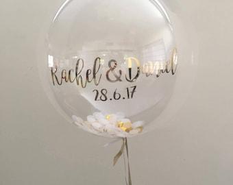 Customised balloon, confetti balloon, clear balloon, party balloons, boho wedding prop, script balloon, save the date, Custom Party Decor