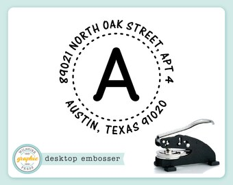 Embosser - AUSTIN Style - Desk Model - Personalized Initial Monogram Return Address - Embossing Stamp Seal - Wedding Housewarming Gift