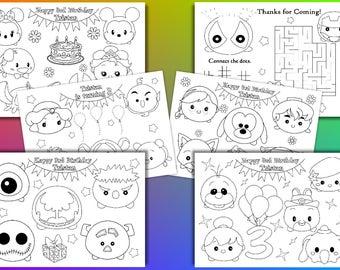 Tsum Tsum Birthday Party Favor, Tsum Tsum coloring pages, PDF file