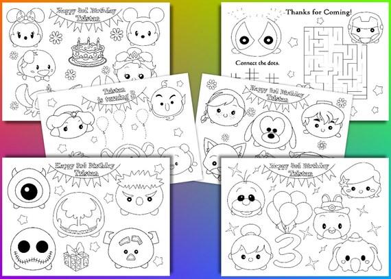 Dibujos Tsum Tsum Dibujos Para Colorear: TSUM Tsum Cumpleaños Fiesta Favor Páginas Para Colorear De