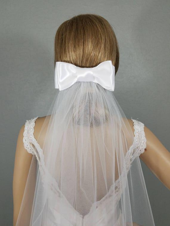 White Bow Veil, White Veil, Wedding Veil, Bridal Veil, Bridal Hip Veil, Short Bridal Veil, Wedding Vail, Bridal Attire, Bridal Accessory