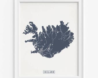 Iceland Print, Iceland Map, Iceland Poster, Europe Map, Europe Print, Street Map, Home Decor, Wall Decor, Mothers Day Gift