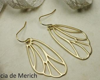 Gold Wing Earrings. Matte Gold Fairy Wings, Butterfly Wings, Cicada Wings Dangle Earrings. Wing Jewelry