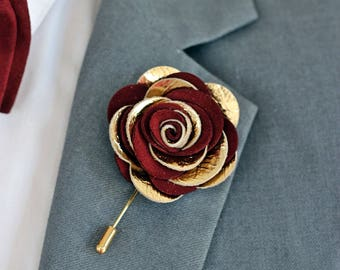 Leather burgundy rose flower pin, burgundy groomsmens boutonniere,maroon boutonniere, bordoux burgundy,gold lapel pin mens lapel flower,