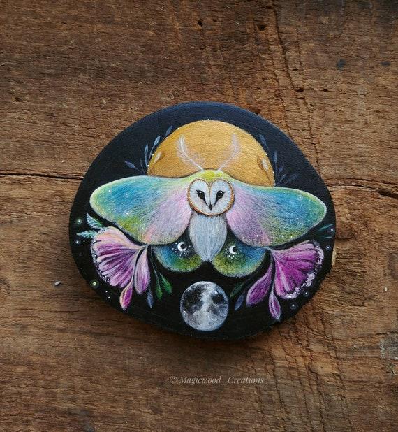 Owl-moth with full moon, animal spirit, original art, painting on wood, wooden slice, gift idea