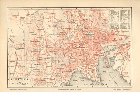 1890 City Map of Christiana or Kristiania present Oslo