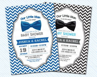 Digital Printable Little man Baby Shower Invitation. Little gentleman on the way