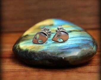 Alien post earrings, Sterling silver alien earrings