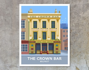 The Crown Bar, Belfast - vintage style railway travel poster art of Ireland