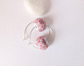 Bead Hoops , Modern Earrings , Coral and mint kaleidoscope, Polymer clay earrings , Contemporary earrings, Geometric earrings