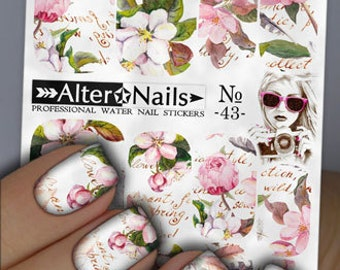 No. 43 Light Flowers Nail Water Wraps Art Stickers Decals