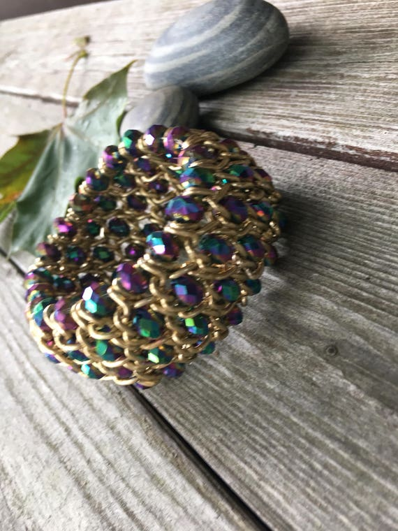 Glamorous & Sexy 80's Bling Goldtone Mesh Bracelet with rainbow carnival glass crystal beads