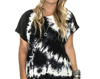 Black White Grey Abstract Organic Pattern Hand Dyed Tie Dye Crepe de Chine Shibori Silk Top - 341
