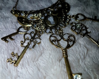 Antique Bronze Lock and Keys Necklace