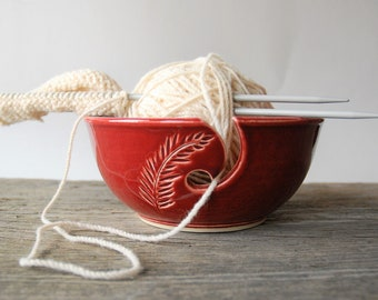 ceramic yarn bowl, red feather crochet bowl,  pottery wool bowl, wheelthrown yarn bowl, knitter's bowl, unique yarn bowl