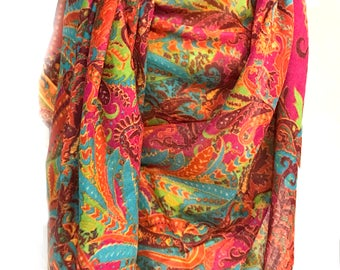 Paisley Pashmina Shawl,Cashmere,Kashmiri Scarf,Hot Pink Turquoise Shawl Women's Accessory 100% Wool Wrap,Gift for her,Indian Pashmina Shawl