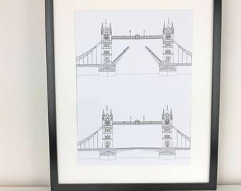 London wall art, Tower Bridge Print, London Print, Minimalist art, London drawing, art print, Picture of Tower Bridge, England, Illustration