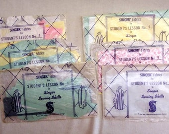 Vintage 1954 Singer Sewing Machine Student Lessons with Fabrics