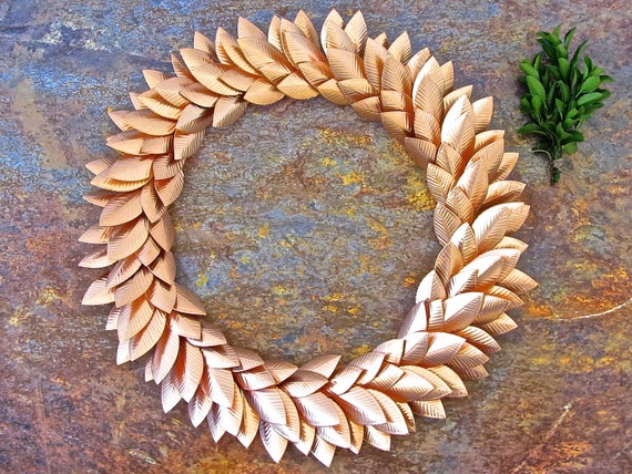 Fall Wreath Rose Gold Wall Decoration Metal Wreath Home