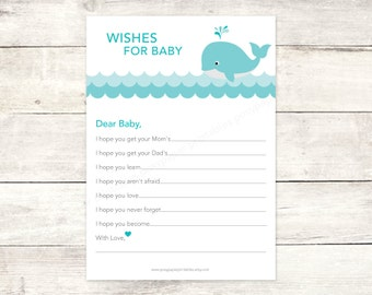 wishes for baby shower printable whale aqua blue plaid well wishes gender neutral card cute baby shower DIY digital games - INSTANT DOWNLOAD