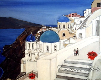 Seascape oil painting -Santorini art- original oil on canvas. 28x22in -Coastal architectural art. Landscape and scenic art. Wall home decor.