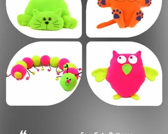 Plushie Patterns / Animal Patterns / Caterpillar Pattern / Owl Pattern / Cat Pattern / PDF Pattern Soft Toy / Sewing Patterns / Toy Patterns