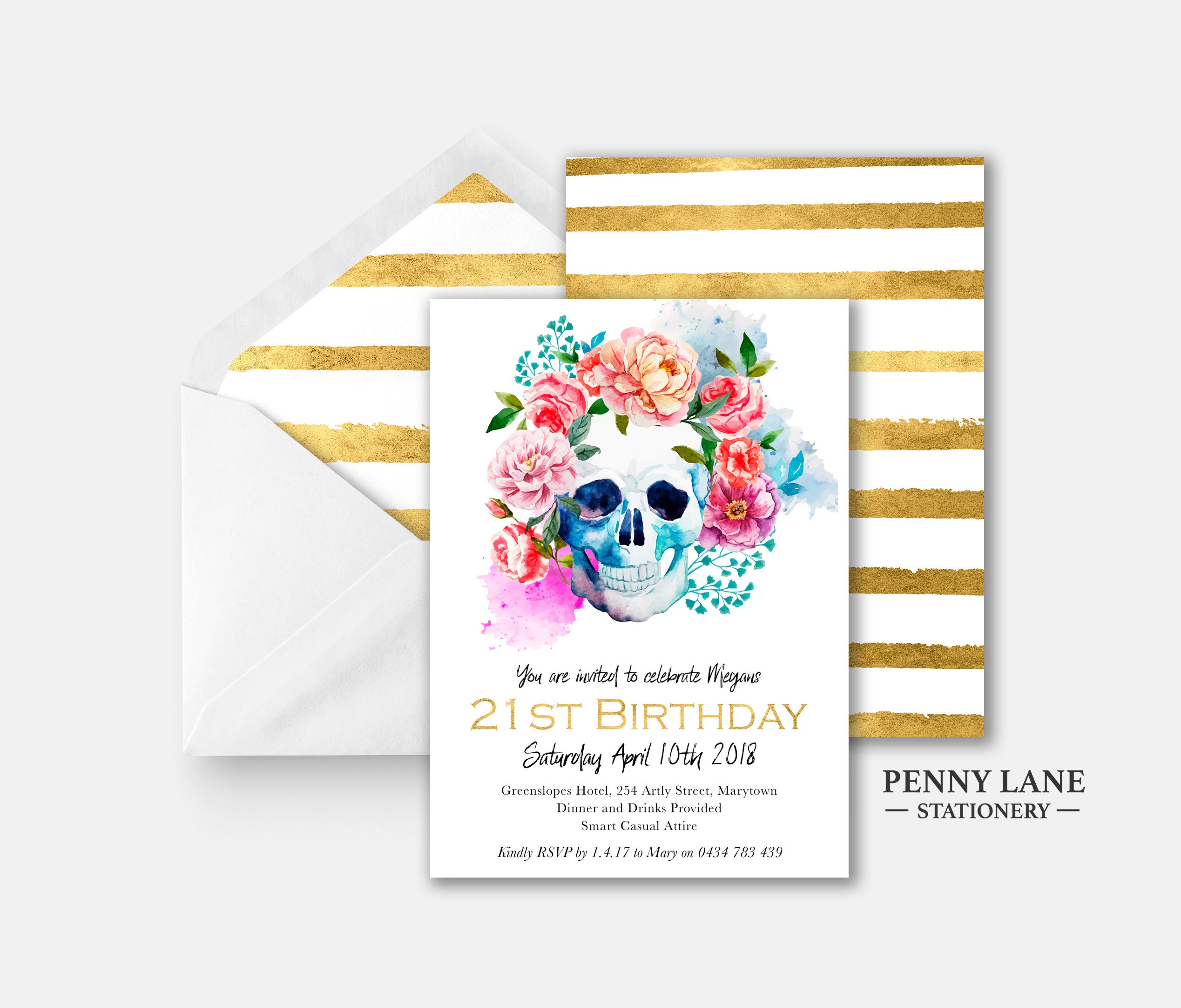 Skull Birthday Invitation 21st Birthday Invitations Floral