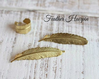 Golden Feather Hairpin