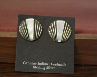 native american indian earrings - Lovely pink mother of pearl in sterling silver stone inlay - signed  FREE SHIPPING SALE