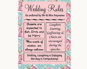 Vintage Shabby Chic Rose Rules Of The Wedding Personalised Wedding Sign