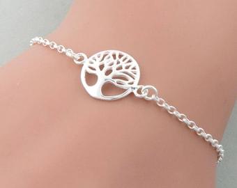 Tree of Life Bracelet - skinny style, sterling Silver, Family Tree Bracelet, skinny bracelet
