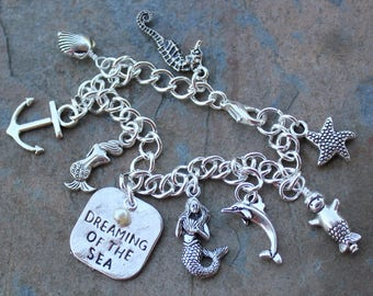 Mermaid Charm Bracelet- Pewter Charms, Silver Plated Chain + white pearl - Dreaming of the Sea, Nautical, Fantasy - Free shipping in USA