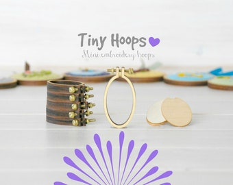 DIY Tiny Embroidery Hoop Frame Kit - 27mm x 45mm - Embroidery Hoop Frame - Oval Miniature Embroidery Hoop - Necklace Mini Oval Hoop - Brooch