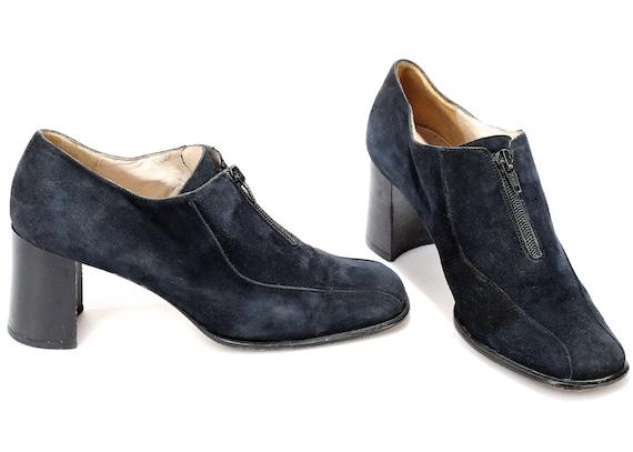 Vintage Heel US 4 Front Chunky Retro Low Rise 5 Uk Zipper Square women 37 Boots 5 70s Shoes Eur Shoes Suede Booties Black Toe Suede 7 P0Stqxn0