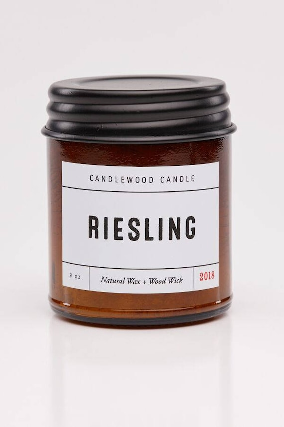 RIESLING - Wood Fire - Natural Soy Wax Wine Candle with Black Lid 9 oz