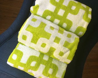 SALE! Monogrammed Chartreuse Green Geometric Reversible Modern Print Terry + Velour Beach Towels