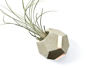 Dodecahedron Geometric Concrete and Copper Tillandsia Planter, Concrete Vase for Air Plants, modern minimalist beton decor, hand cast