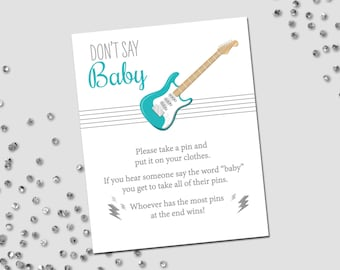 Don't Say Baby Game - Rockstar Baby Shower - Guitar and Lightning Bolts - Stripes - Teal Turquoise Gray Grey - INSTANT DOWNLOAD - Printable