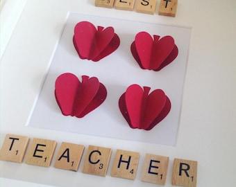 Teacher gift | Thank you teacher | Scrabble frame | End of term gift | Box frame | 3D effect | Apples | Apple for teacher | thank you gift