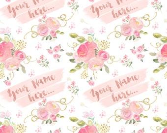 Personalised baby blanket / Baby Girl Pram Blanket / Soft Baby Blanket / Receiving Blanket / Pretty floral design /