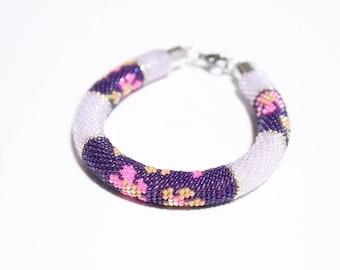Bead Crochet Bracelet Violets