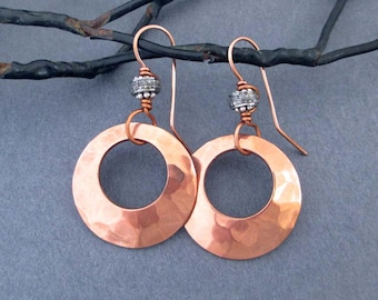 Hammered Copper Hoop Earrings with Genuine Diamond Pave Set in Sterling Silver Round Dangle Earrings 7th Anniversary Copper Anniversary Gift