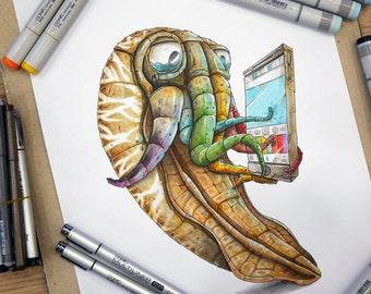 Copic Squid, a Copic markers original illustration.