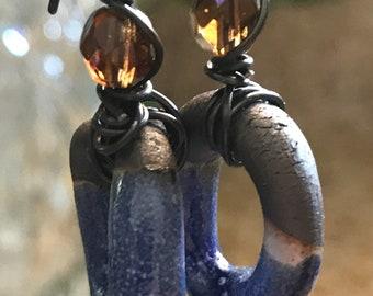 Boho Earrings, Artisan Earrings, Sapphire Hoop Earrings with Amber Iridescent Czech Glass